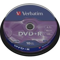 DVD+R Verbatim 10pk, 4.7GB, 16x, spindle
